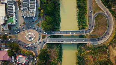Aerial View Of Roads And Traffic