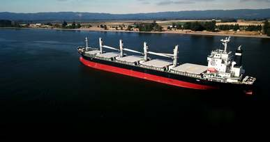 Aerial View Of A Bulk Carrier