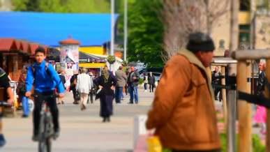 A Busy Street On A Sunny Day