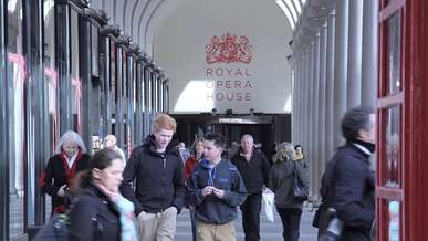 People Going In and Out Of The Royal Opera House