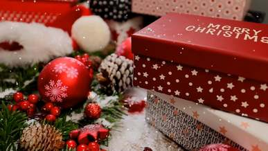 Snow Falling On Gifts