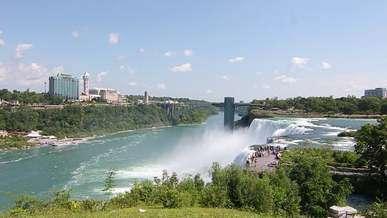 Tourists Looking at Niagara Falls