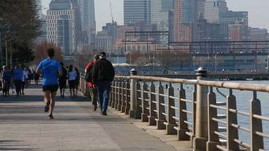 Crowd Strolling and Jogging through a Pier