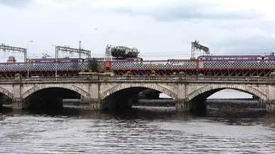 Vehicles traveling over a bridge