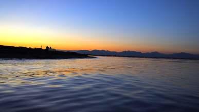 Blue Sky over Ocean at Sunset